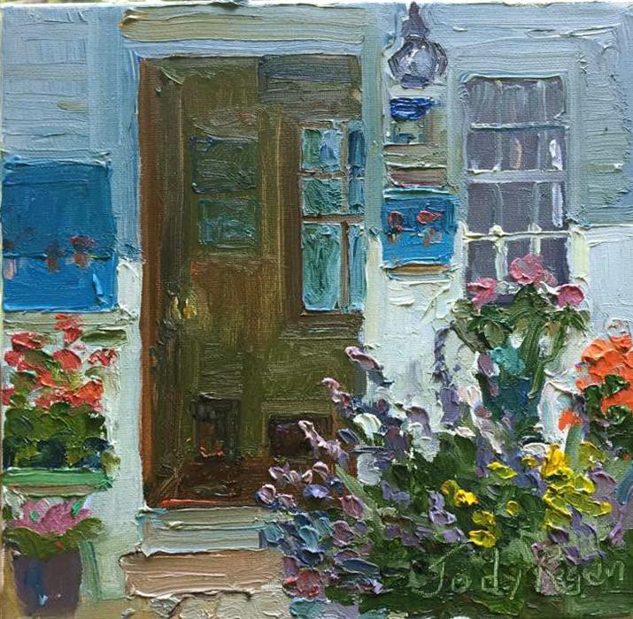 Garden Doorway by Jody Regan Oil ~ 10 x 10 & Jody Regan - Work Zoom: Garden Doorway