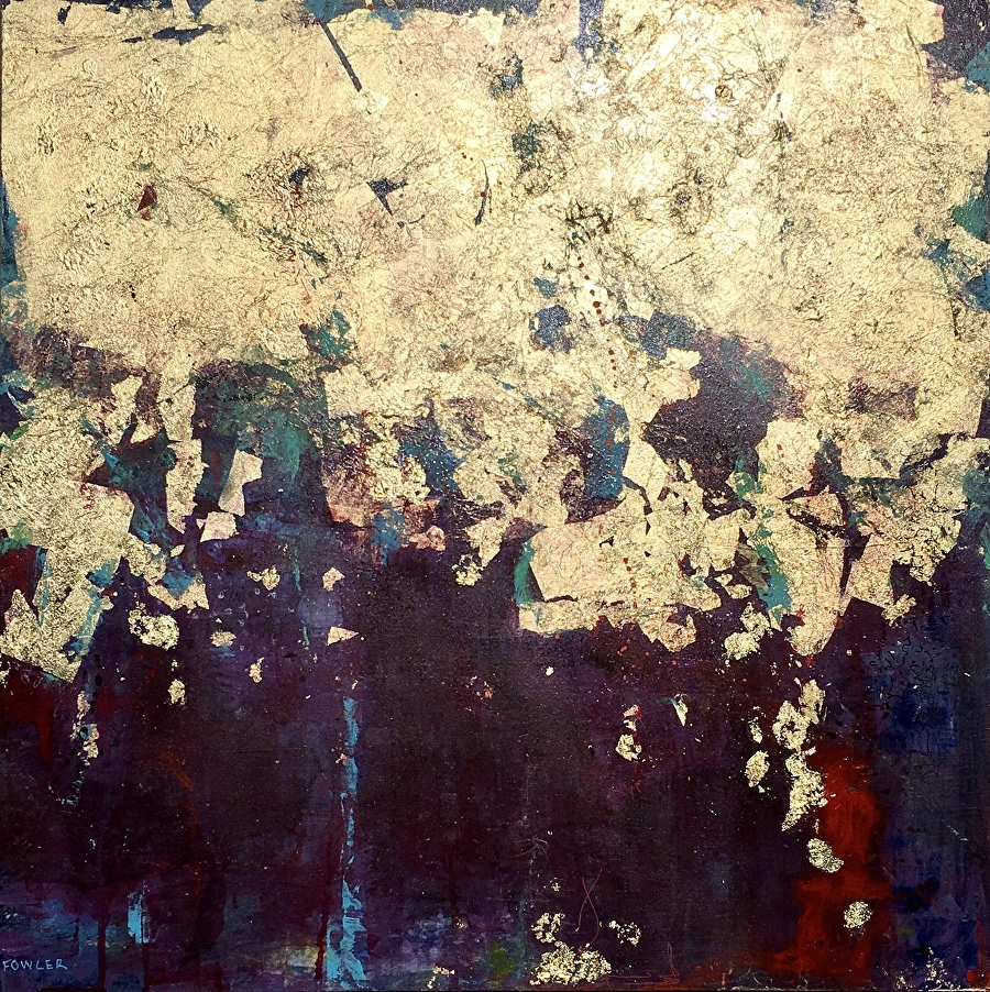 """WE ARRIVE COMPLETE by Pamela Fowler Lordi Acrylic, Collage, Gold Leaf ~ 24"""" x 24"""""""